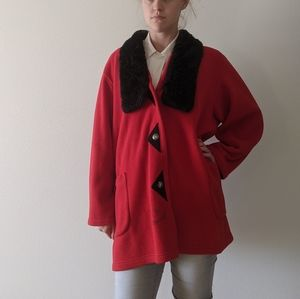 Vintage fleece faux fur plus size red coat